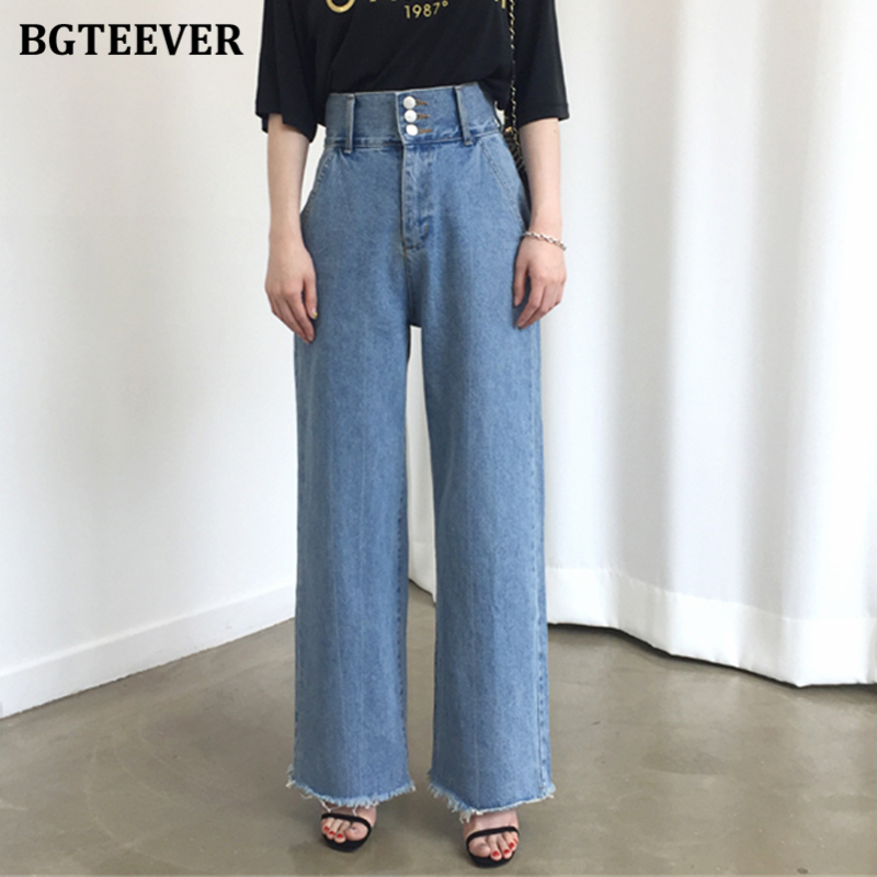 BGTEEVER Fashion High Waist Buttons Women Jeans Summer Straight loose Denim Pants Capris Femme Vintage Female Jeans 2020