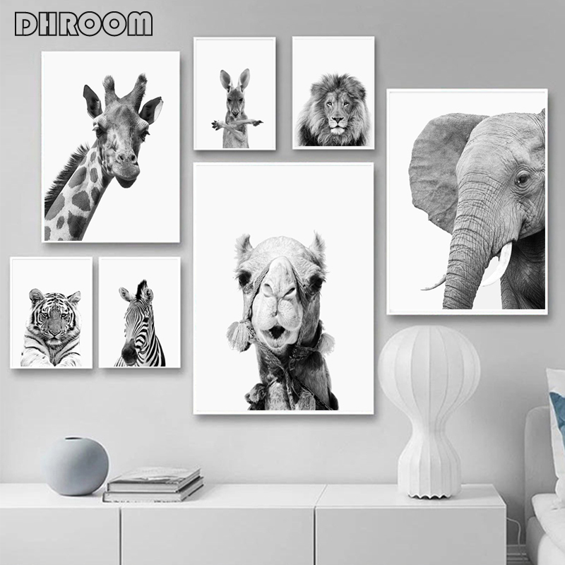 Animals Print Lion Zebra Elephant Wall Art Poster Safari Nursery Canvas Painting Black And White Pictures Kids Room Decoration