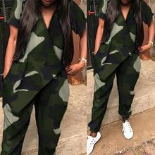 Fashion Camouflage Overalls Womens Summer Jumpsuits 2021 ZANZEA Casual Short Sleeve Rompers Female V Neck Harem Pants S-5XL