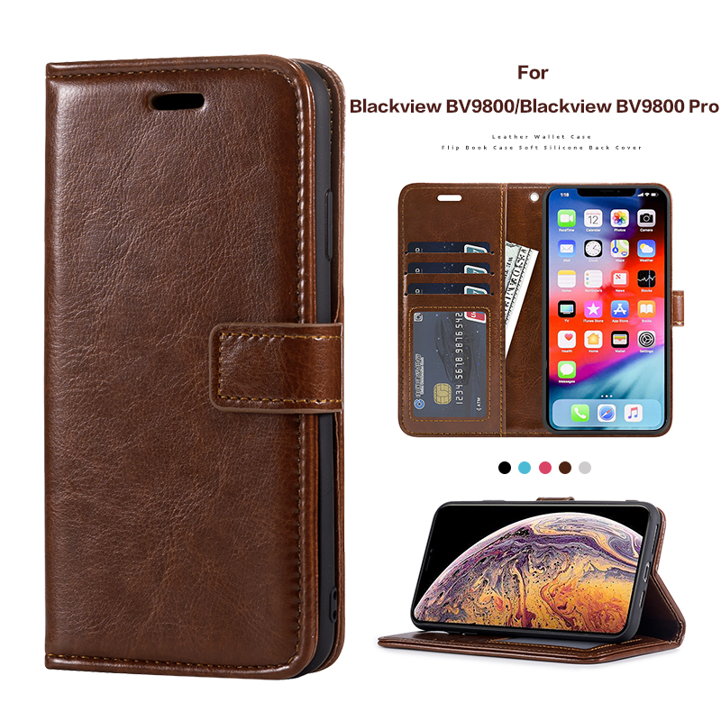 PU Leather Flip Case For Blackview BV9800 Card Silicone Photo Frame Case Wallet Cover For Blackview BV9800 Pro Business Case(China)