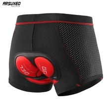 ARSUEXO Men Cycling Underwear 5D Gel Pad Bike Cycling Shorts Shockproof Bicycle Shorts MTB Cycling Underpants Mesh Breathable