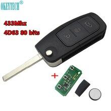 OkeyTech 433MHz 4D63 80BITS Chip Keyless Entry Fob Auto Remote Key 3 Tasten für Ford Mondeo Fokus Fiesta C Max S Max Galaxy