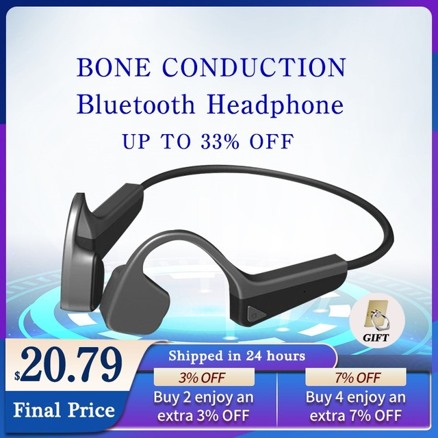 Bone Conduction Headphones Bluetooth Wireless Sports Earphone IPX6 Waterproof Headset Outdoor Stereo With Microphone 1