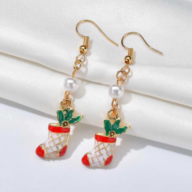 ファッション中空スノーフレークブーツのイヤリング木松葉杖ブラブラペンダントドロップイヤリング古典的なクリスマス女性の耳の宝石