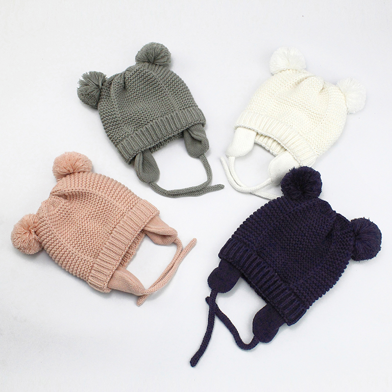 Cutex Knitted Pompom Baby Hat Cap Thick Warm Baby Girl Boy Hat Beanie Winter Ear Warm Kids Hat Baby Bonnet Muts For Newborn 03