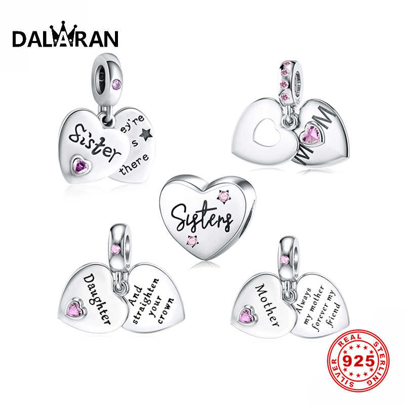 DALARAN Heart Shape 925 Sterling Silver Mom Daughter CZ Bead Charms Fit Original Pandora Bracelet Silver 925 Original Jewelry