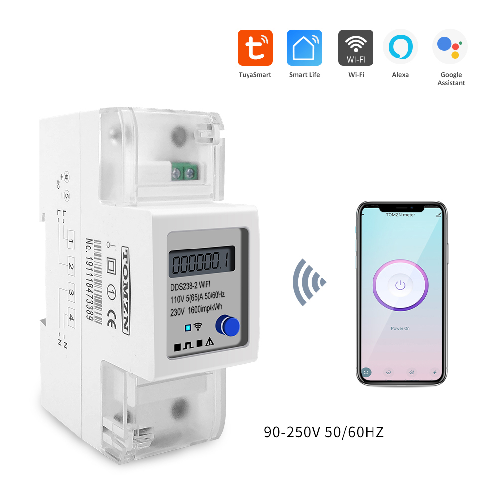 Tuya Single Phase Din Rail WIFI Smart Energy Meter Timer Power Consumption Monitor KWh Meter Wattmeter 110V 220V 50/60Hz