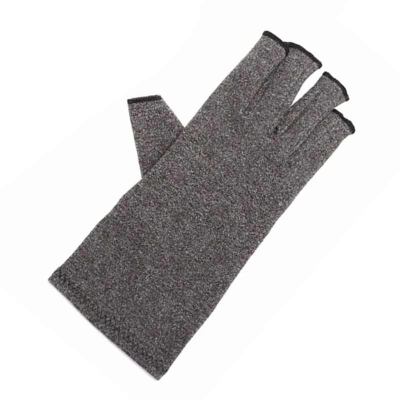 Grey Elastic Fingerless Gloves With Novel Protect Design For Both Men & Women Cotton Gloves For Anti-arthritis Health Treatment