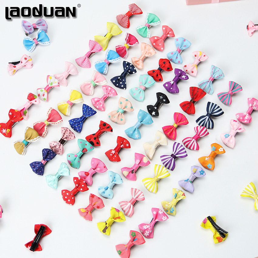 20PCS Mix Color Mini Bow Barrettes Sweet Girls Solid Dot Stripe Hair Clips Kids Hairpins Hair Accessories For Women Girls