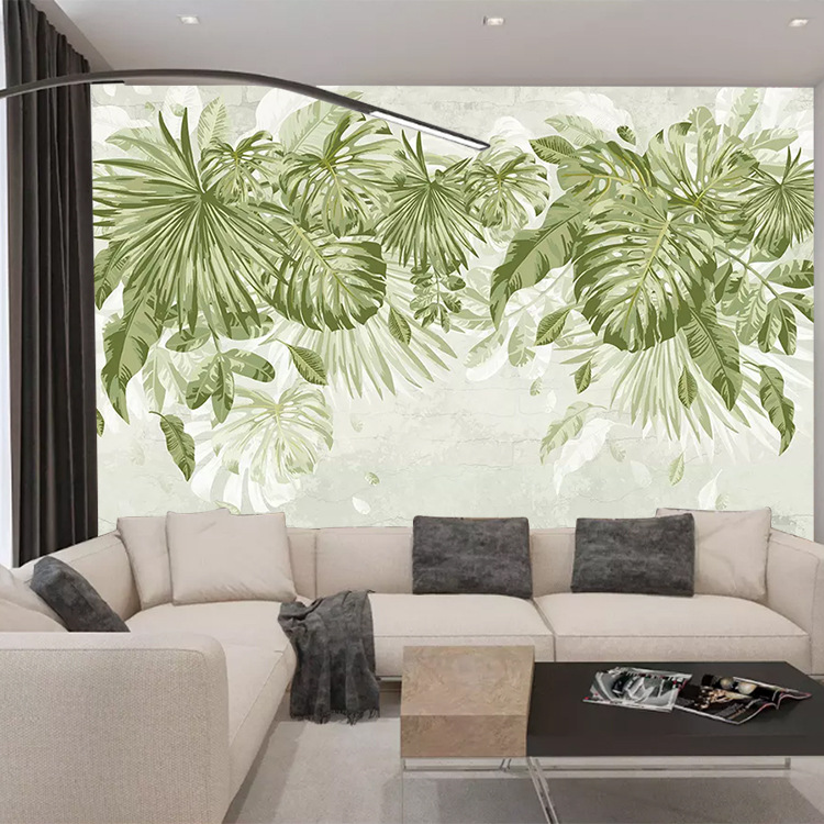 Green Plant Palm Leaf Pastoral Style Wallpaper Nordic Minimalist Bedroom Living Room Background Wallpaper Bed And Small Clear