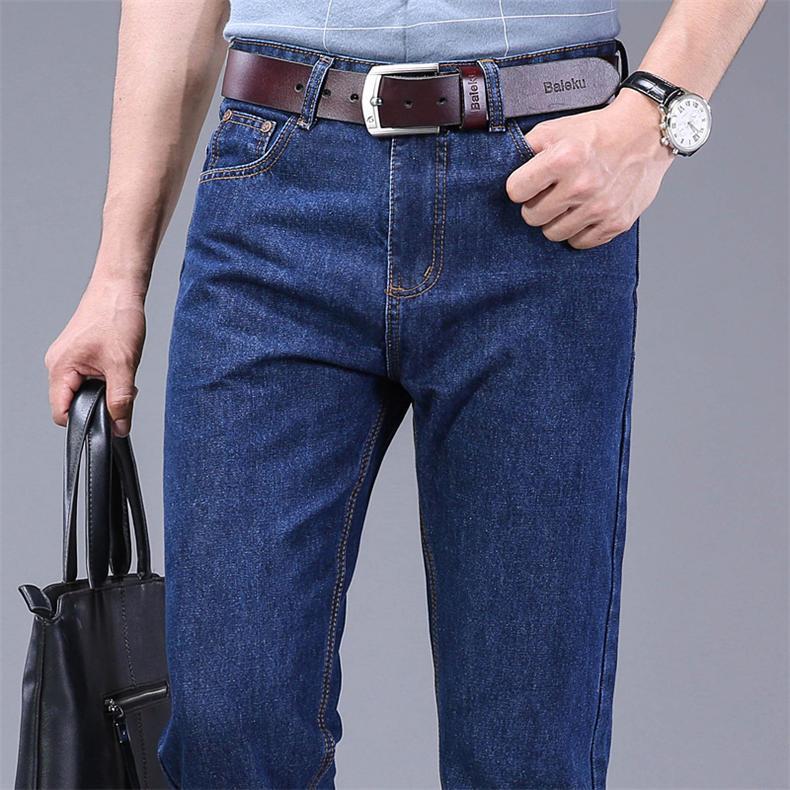 2019 Autumn Jeans Men Casual Business Cotton Force Denim Trousers Slim Fit Jeans Spring Straight Denim Pants Male Thin Men Jeans 7