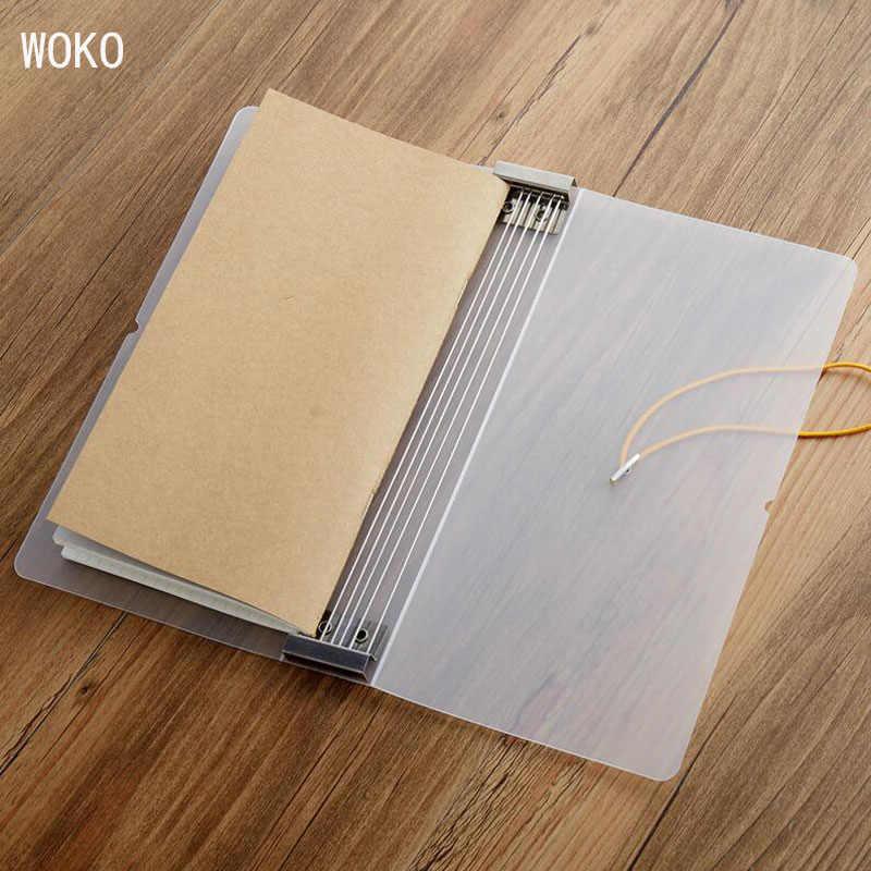 Cubierta de cuaderno mate para viajeros, libro de archivo transparente PP, tamaño estándar, núcleo interno, libro de almacenamiento, suministros escolares y de oficina