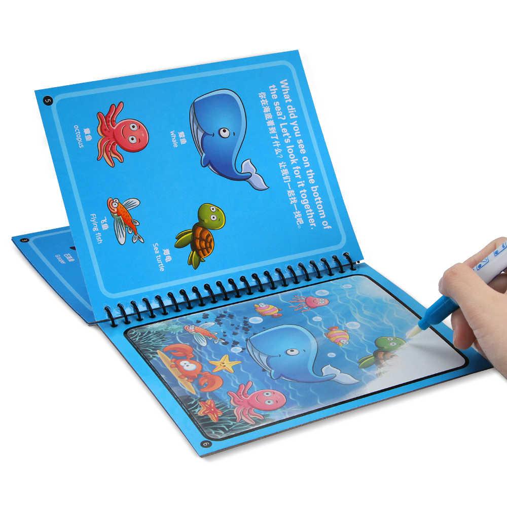 1 ชุด Montessori สมุดระบายสี Doodle & Magic ปากกาวาดภาพวาดสำหรับของเล่นเด็ก Magic Water Drawing Book วันเกิดของขวัญ ZXH