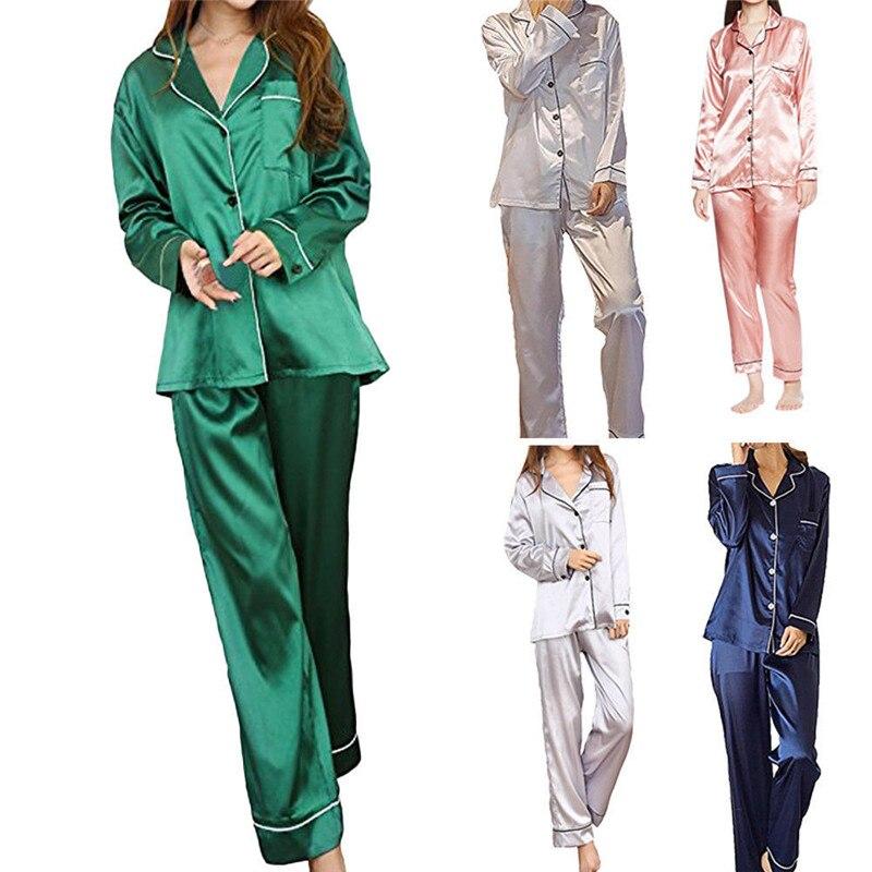 Ladies Women Satin Silk Pajama Set Sleepwear Summer Autumn Lounge Wear Pajamas Long Sleeve Nightwear