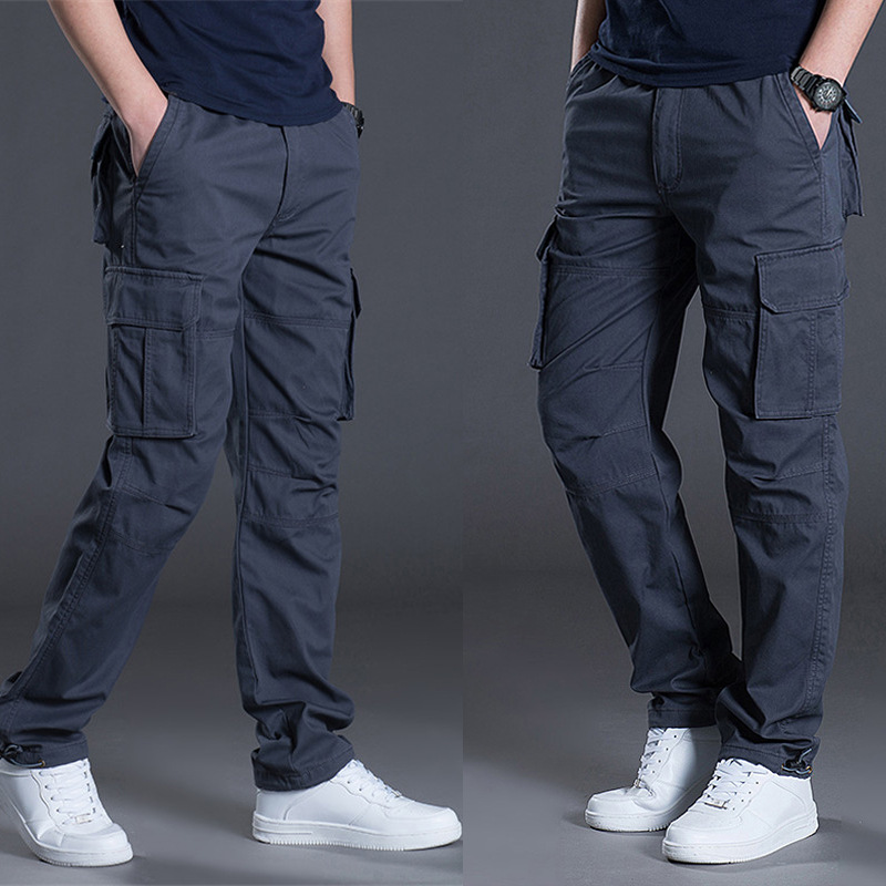 MEN'S Casual Pants Bib Overall Trend Athletic Pants Loose-Fit Straight-leg Pants Men's Autumn & Winter Trousers Men's Trousers N