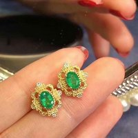 SHILOVEM 925 sterling silver real Natural Emerald stud earrings classic fine Jewelry new wedding wholesale 4*6mm lpe0406188agml