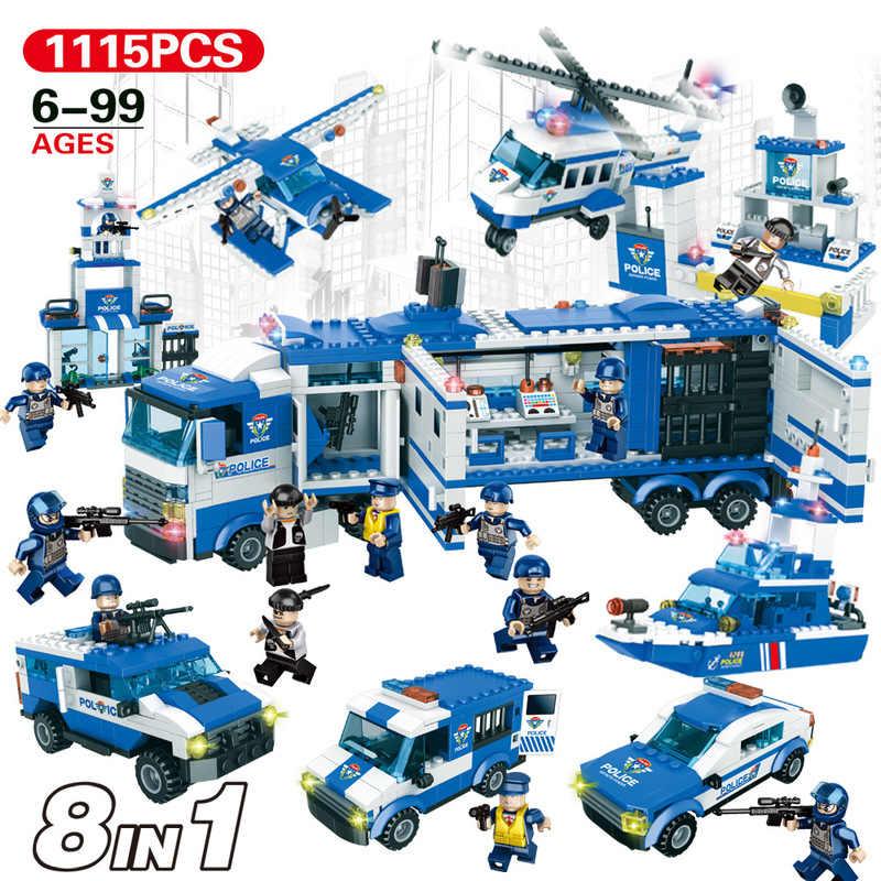 8in1 Compatible Legoed SWAT conjuntos de policía mando barco de guerra Mecha camión edificio bloque ciudad soldados ladrillos MOC A juguetes Constructor