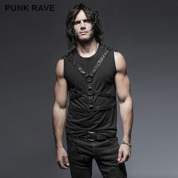 Punk Rave Men's T-shirt Punk Rock Streetwear Fashion T-shirt Gorgeous Cotton Sleeveless Personality Tops Hip Hop Style