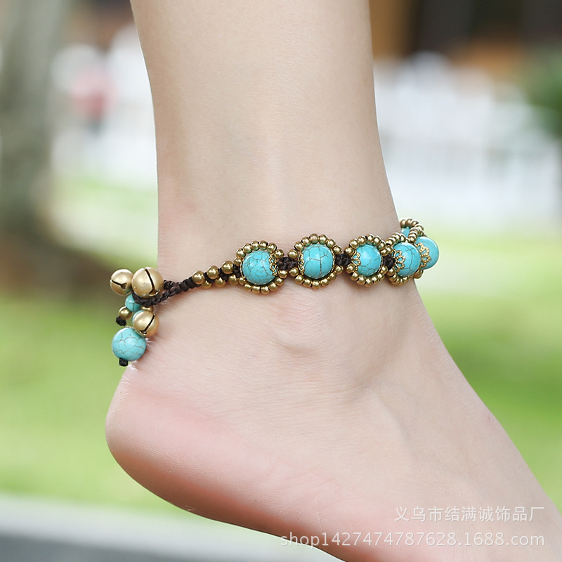 imixlot Natural Turquoise Anklets Silver Dreamcatcher Feather Multilayer Ankle Bracelet Beach Foot Chain
