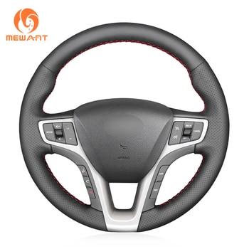 MEWANT Black Genuine Leather Car Steering Wheel Cover for Hyundai I40 2011 2012 2013 2014 2015 2016 2017 2018 2019