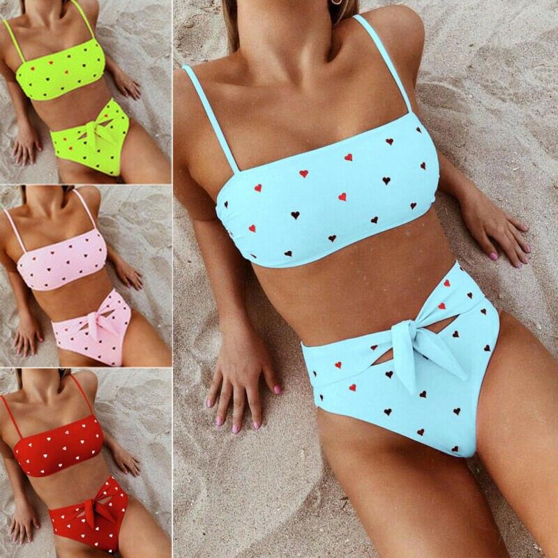 Hot Women Push Up Bikini Set Bra Padded Swimwear Lady Beachwear Bathing Suit Small Love Heart Print Cute Bra Sexy Waist Bandage