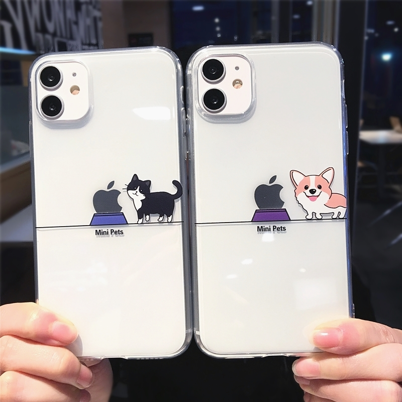 Cute Funny Cartoon Cat Dog Pig Transparent Clear Phone Case For iPhone 12 Pro Max
