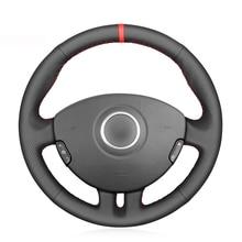 Черный ПУ Искусственная Кожа DIY красный маркер рука сшитый чехол рулевого колеса автомобиля для Renault Clio 3 2005-2013 Рено Клио 3 RS 2005-2013