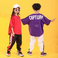 Kid Hip Hop Kleidung Lose Übergroßen T Shirt Top Casual Hosen für Mädchen Jungen Jazz Dance Kleidung Kostüme Ballsaal Tanzen tragen