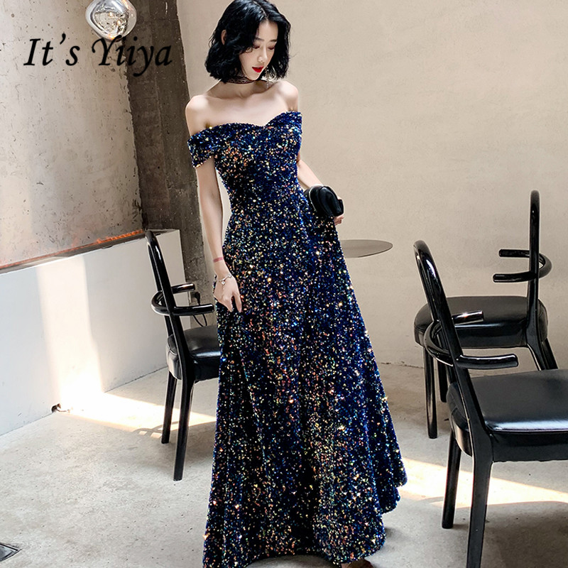 It's Yiiya Evening Dress Off Shoulder Colorful Sequins Shining Formal Dresses For Women Long Boat Neck Robe De Soiree LF002