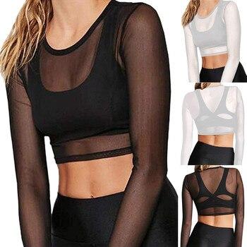 Sexy Women t shirts See Through Transparent Mesh O Neck Long Sleeve Sheer T Shirt Crop Tops Tee Shirt женские футболк