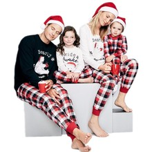 цена на Family Look Polar Bear Christmas Pajamas Family Matching Clothes Outfits Mother Father Kids Baby Pajamas Set Sleepwear Clothing