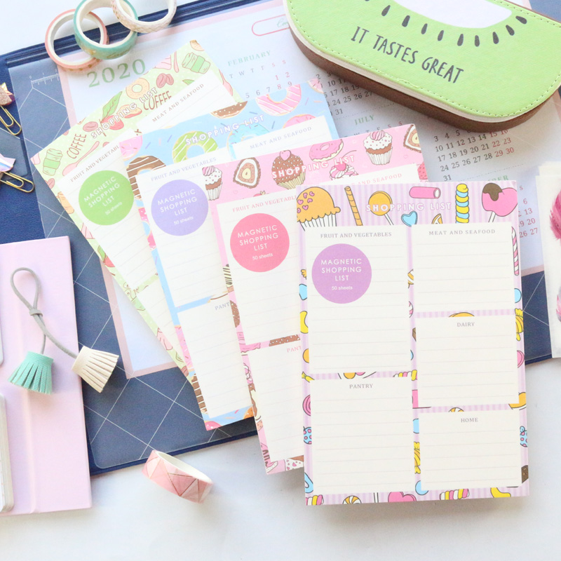 Domikee 2020 New Cute Cartoon Kawaii Magnet Fridge Shopping List Notes Pad Book Candy Magnetic Memo Pad Stationery Gift A5 Thick