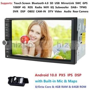 Image 1 - 4GB RAM 64GB ROM אנדרואיד 10.0 אוניברסלי לרכב אין DVD 2DIN 7 רדיו לרכב GPS רדיו NXP6686 מולטימדיה Autoradio TDA7851 Automotivo