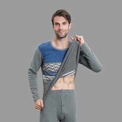 Fashion men's cotton sweater round neck thick and velvet autumn clothes long trousers Stripe bottoming thermal underwear set