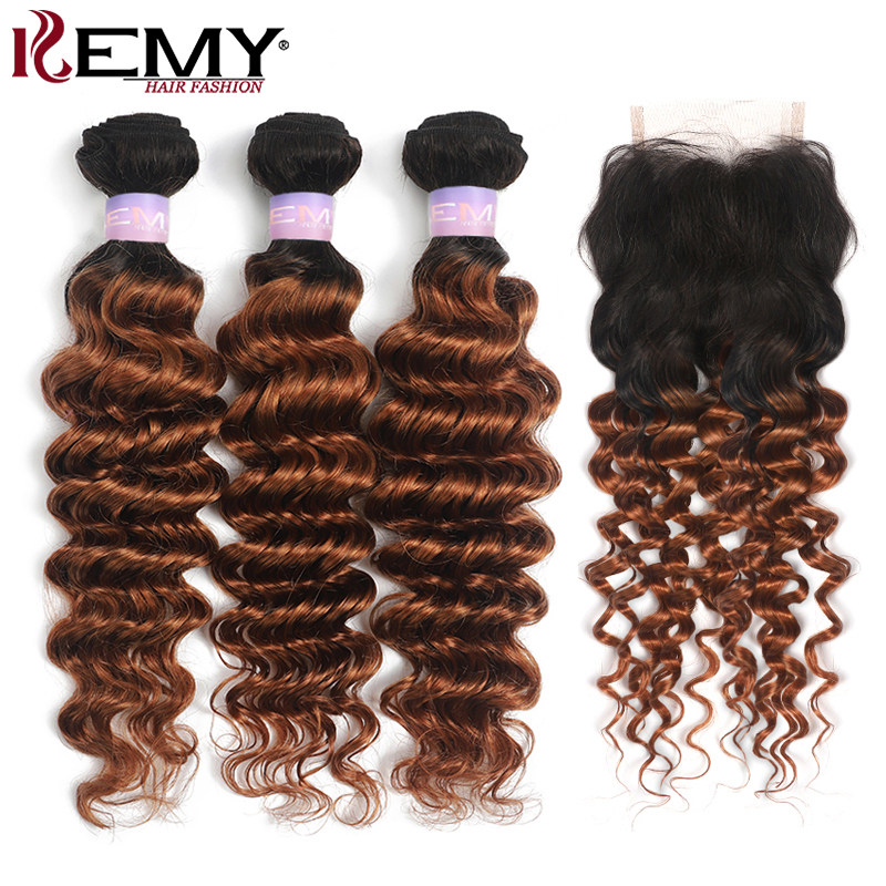 Ombre Brown Brazilian Deep Wave Human Hair Bundles With Closure 4x4 KEMY HAIR T1B/30 Hair Weave Extension With Closure Non-Remy