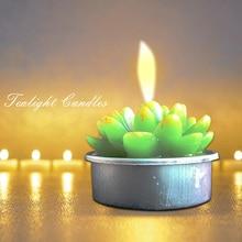 12pcs/set Unscented Home Decor Birthday Wedding Cactus Events Party Favors Tealight Candles Bridal Shower Succulent Plants Pot