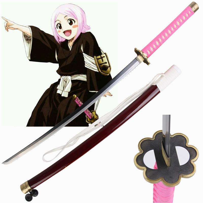 Free Shipping For Bleach Anime Cosplay Kusajishi Yachiru Sword Katana Real Steel Pink Decorative Christmas Gift Prop No Sharp