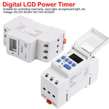 7 Day Programmable Digital Industrial Time Switch Relay Timer Control 15A DC12V/24V AC110V/220V Din Rail Mount Electronic Weekly