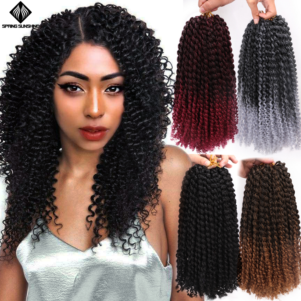 12inch Synthetic Jerry Curl Ombre Kinky Curly Hair Braid Marley Braids Bob Crochet Braids 8