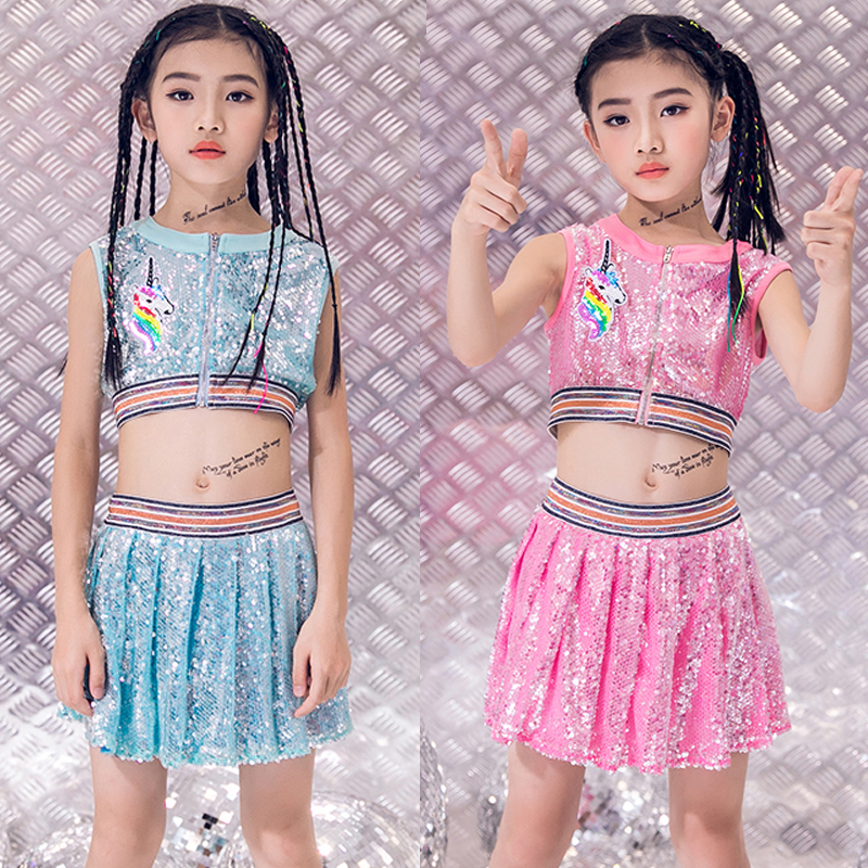 Jazz Dance Costumes Sequined Sleeveless Skirts Kids Cheerleading Clothing Girls Hop Hop Set Performance Stage Outfit DNV12025