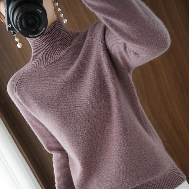 Женский кашемировый свитер с высоким воротником и длинными рукавами 2