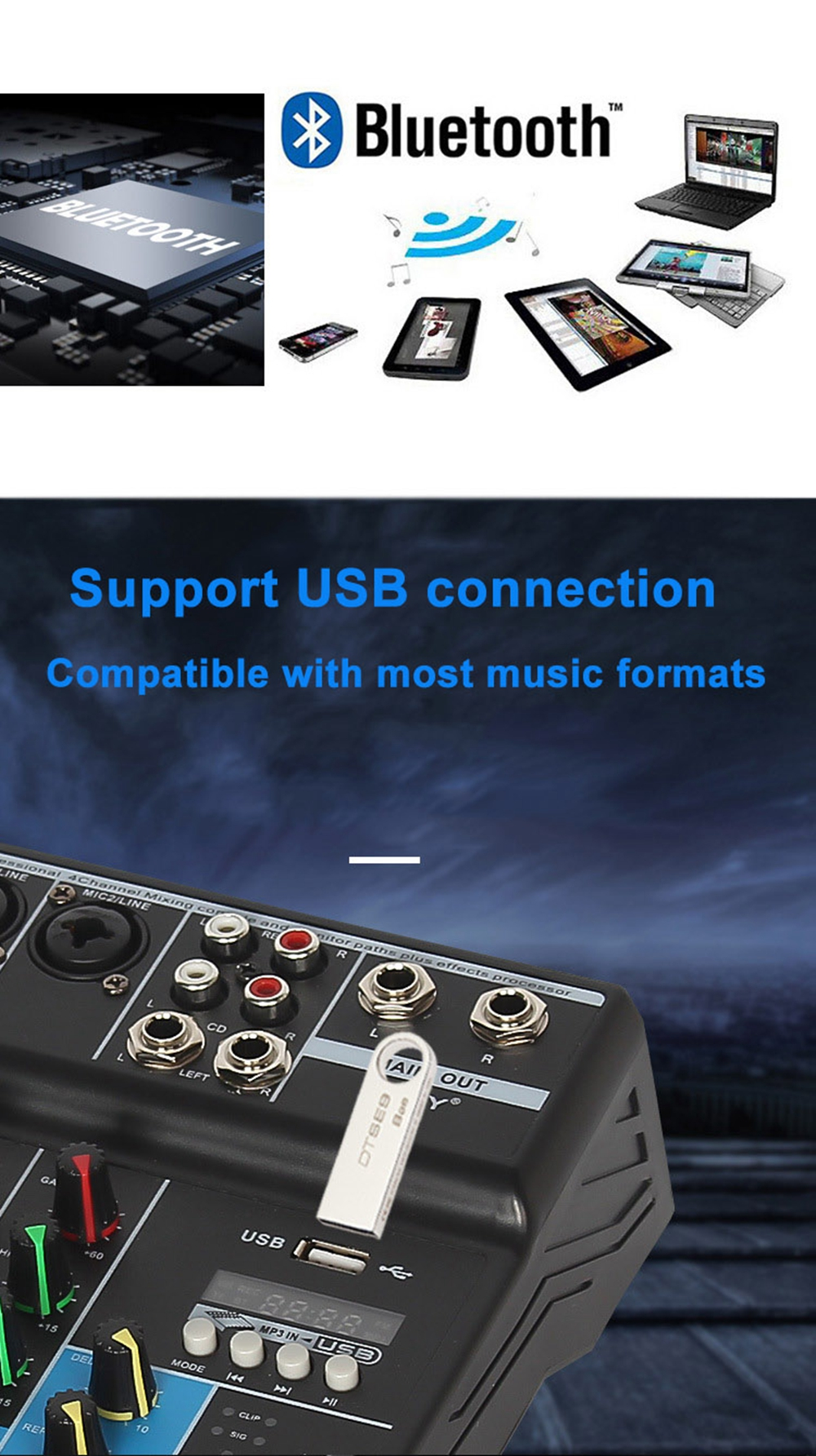Professional 4 Channel bluetooth Mixer Audio Mixing DJ Console with Reverb Effect for Home Karaoke USB Stage Karaoke KTV