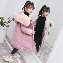 New2019 Fashion Girls clothing Winter Warm down Cotton Jackets Children Fur Collar Coats Girl Thickening Hooded kids Clothes nimble autumn winter girls children korean style plaid jackets for girls warm cotton turn down collar outwear girl kids coats