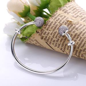 Image 4 - Moonmory Moments Silver Open Bangle with Pave Caps S925 Sterling Silver bead Bracelet with Red Zircon Diy Charm Bangle Jewelry