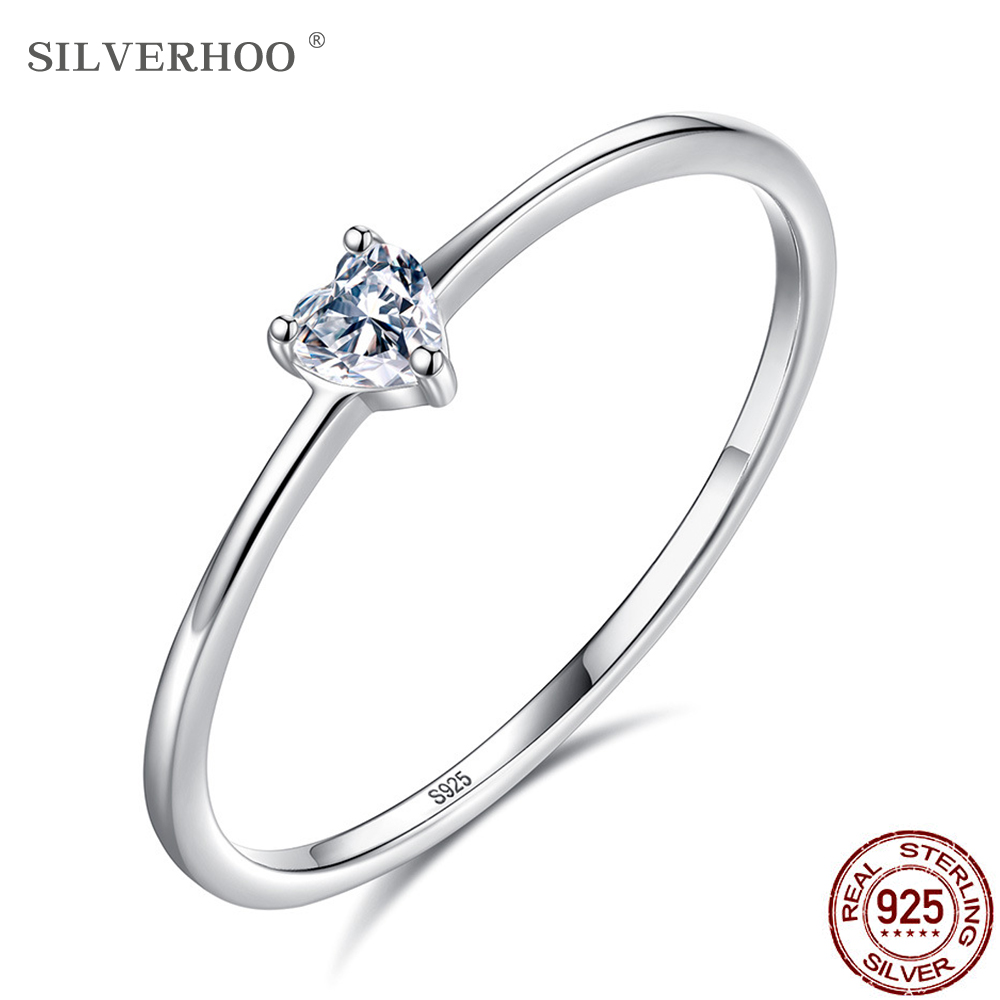 SILVERHOO HOT SALE 925 Sterling Silver Heart Clear Simple Finger Rings For Women Engagement Wedding Statement Jewelry Gift