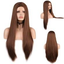 Charyzma długie proste jedwabne włosy peruka syntetyczna wysokiej temperatury włókna brązowe peruki peruka do Cosplay dla czarnych kobiet