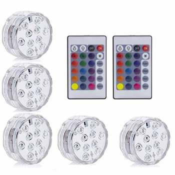 10LED RGB LED Underwater Light Pond Submersible IP67 Waterproof Swimming Pool Light Battery Operated For Wedding Party - 2 Remote 5 Light