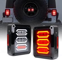 Dla 2007-2018 Jeep Wrangler JK JKU tylne światła Led czerwone LED tylne światło hamowania Turn Signal tylna Taillight montaż styl diamentu tanie tanio marloo CN (pochodzenie) Lampa tylna Zgromadzenia 8inch Alluminum alloy 12 v Led Tail Lights 2008 2009 2010 2011 2012 2013