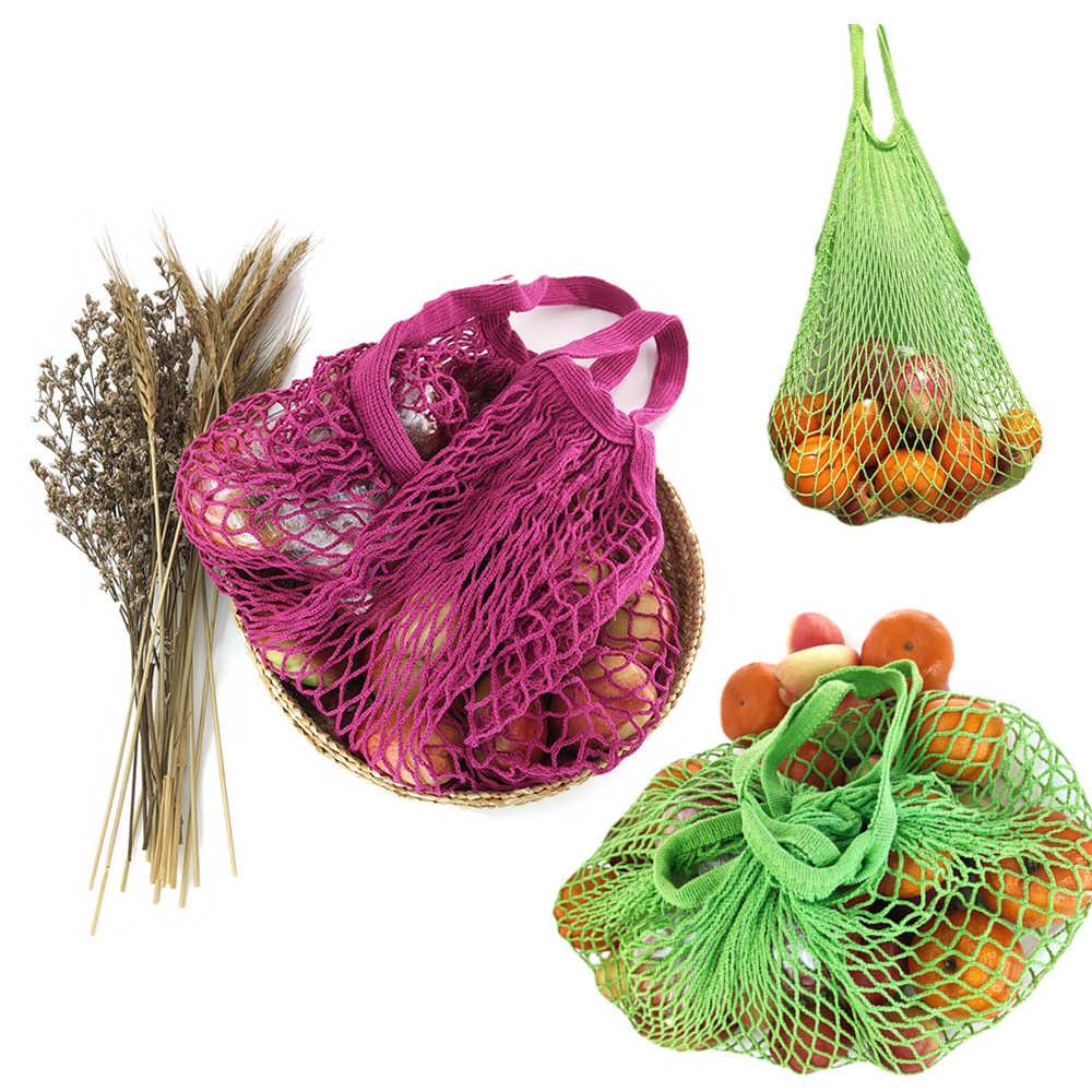 Sacs d'épicerie réutilisables portables, sac d'épicerie pour fruits et légumes, cordon en maille en coton lavable organisateur organique, sac à main en filet à poignée courte