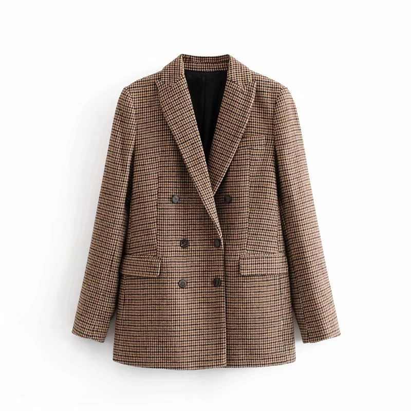 Doble botonadura Otoño Invierno blazer mujer 2020 Oficina señoras traje vintage chaqueta escocesa abrigo casual cálido prendas de vestir Mujer